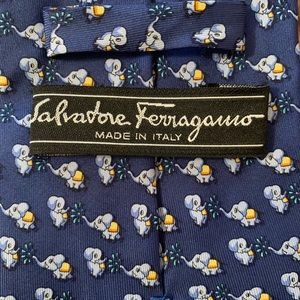 Salvatore Ferragamo Silk Tie with Elephant Design